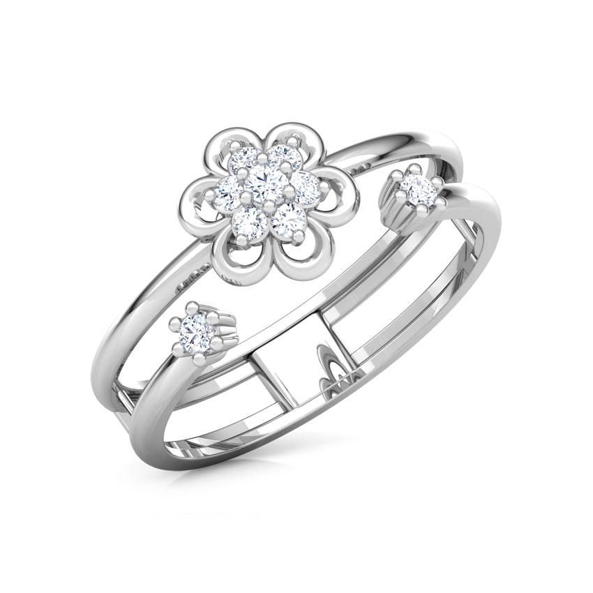 Diamond Rings 14 Karat White Gold Contemporary Bloom Diamond Ring