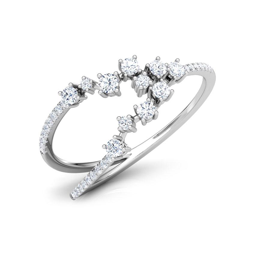 Diamond Rings 18 Karat White Gold Vogue Cluster Diamond Ring