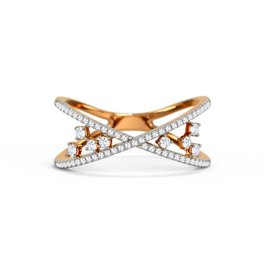 Diamond Rings 14 Karat Rose Gold Chic Cluster Diamond Ring