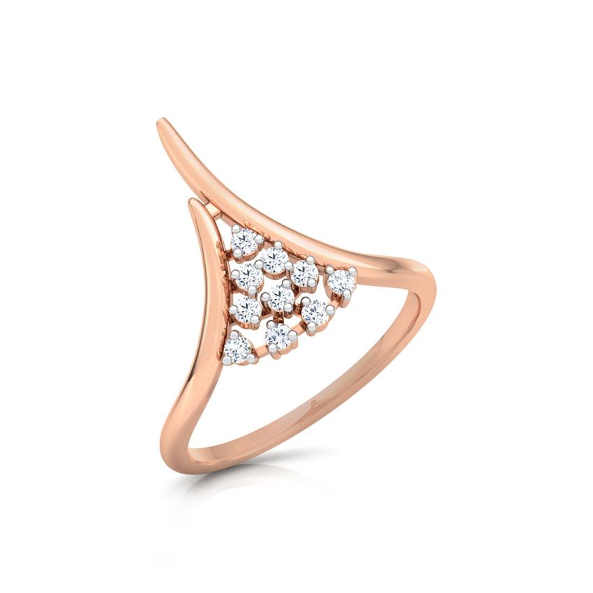 Diamond Rings 18 Karat Rose Gold Peak Cluster Diamond Ring