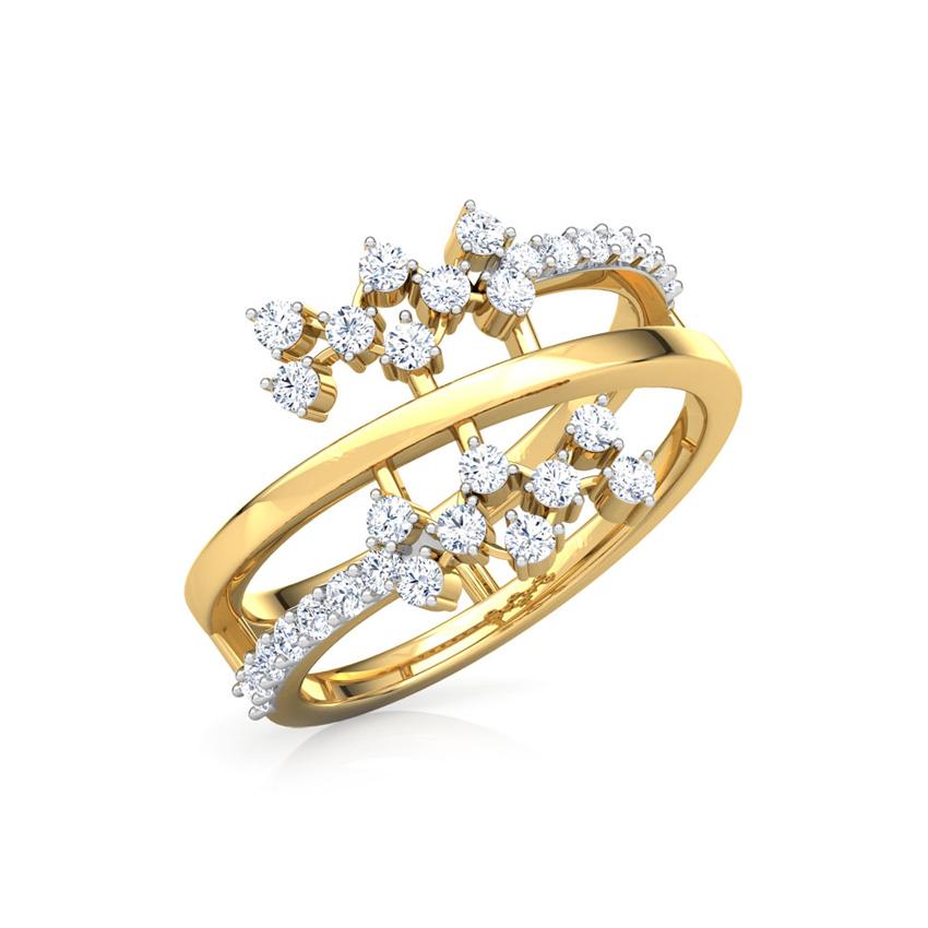 Diamond Rings 18 Karat Yellow Gold Curl Cluster Diamond Ring