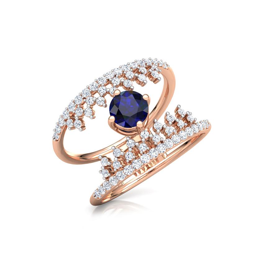 Diamond,Gemstone Rings 18 Karat Rose Gold Crown Azure Diamond Ring