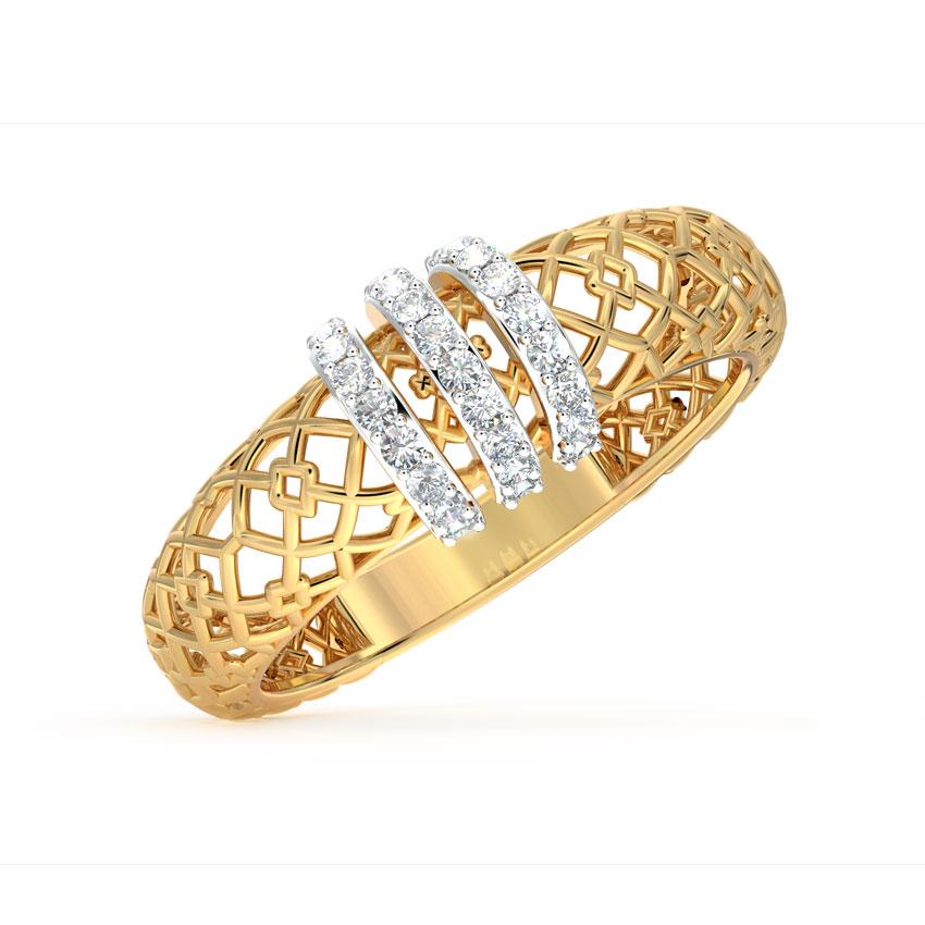 Diamond Rings 18 Karat Yellow Gold Linear Mesh Diamond Ring
