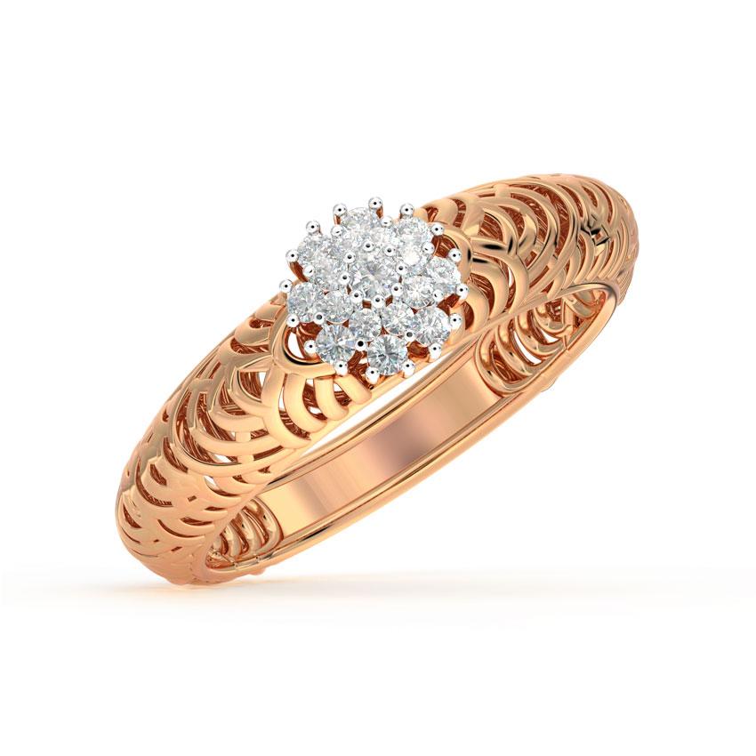 Diamond Rings 18 Karat Rose Gold Rays Mesh Diamond Ring