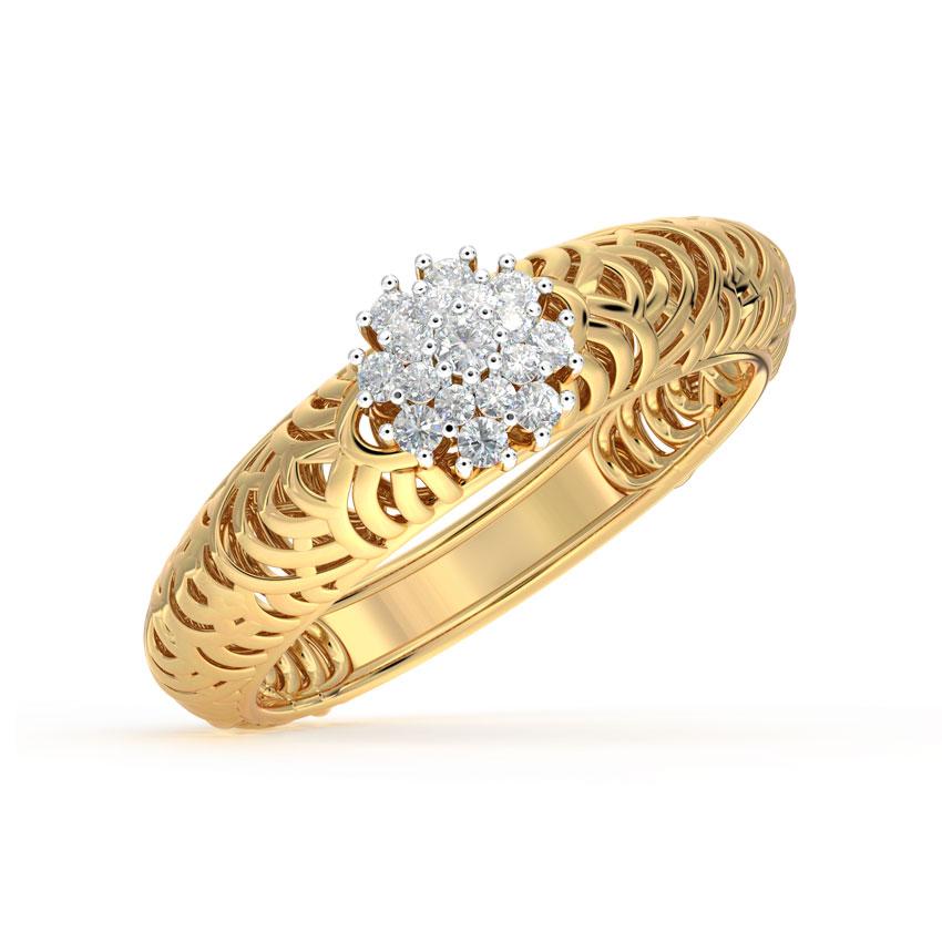 Diamond Rings 18 Karat Yellow Gold Rays Mesh Diamond Ring