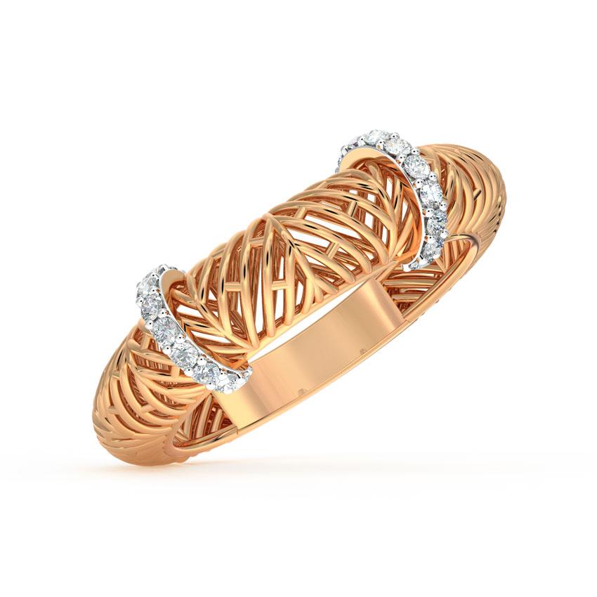 Diamond Rings 18 Karat Rose Gold Bar Mesh Diamond Ring