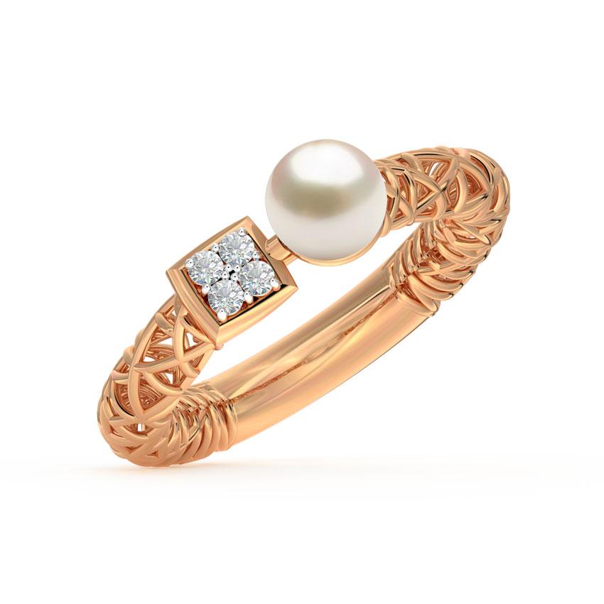 Diamond,Gemstone Rings 18 Karat Rose Gold Pearl Mesh Diamond Ring