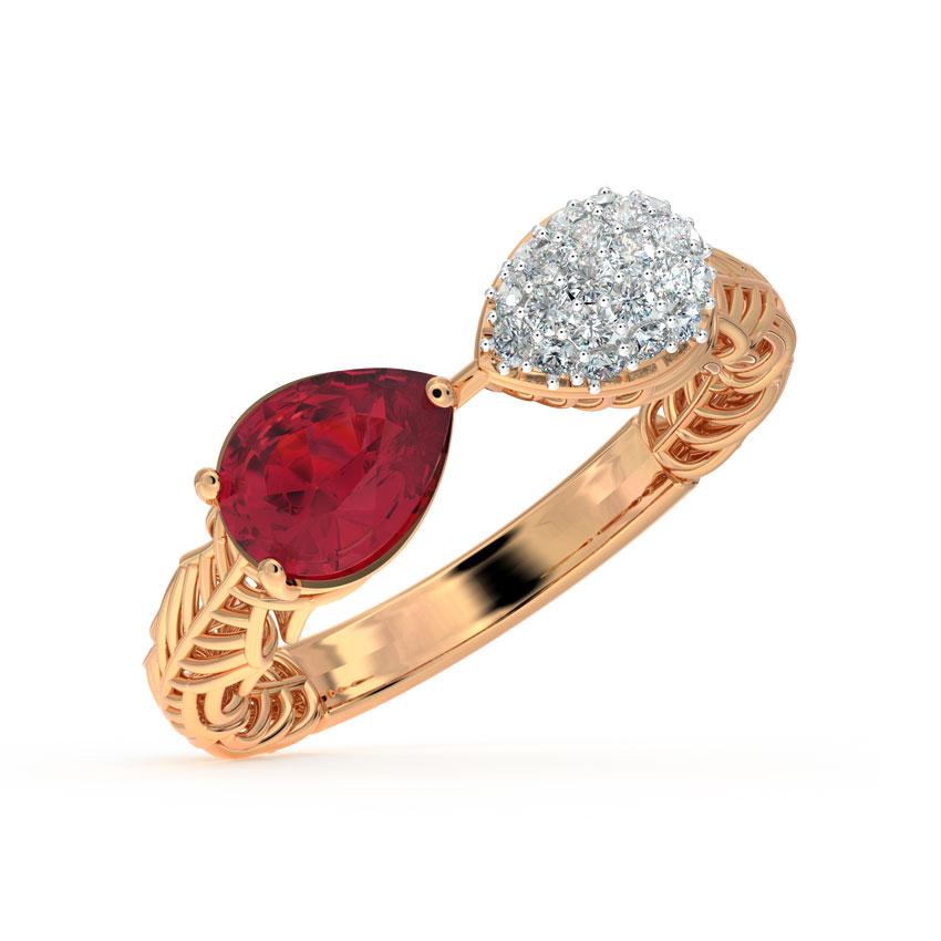 Diamond,Gemstone Rings 18 Karat Rose Gold Pear Mesh Diamond Ring