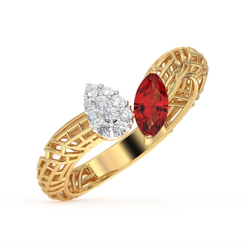 Diamond,Gemstone Rings 18 Karat Yellow Gold Elegant Mesh Gemstone Ring