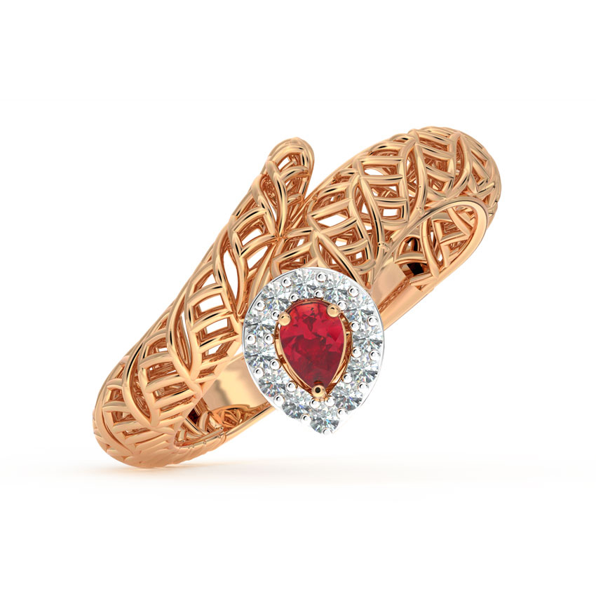 Diamond,Gemstone Rings 18 Karat Rose Gold Perched Mesh Diamond Ring