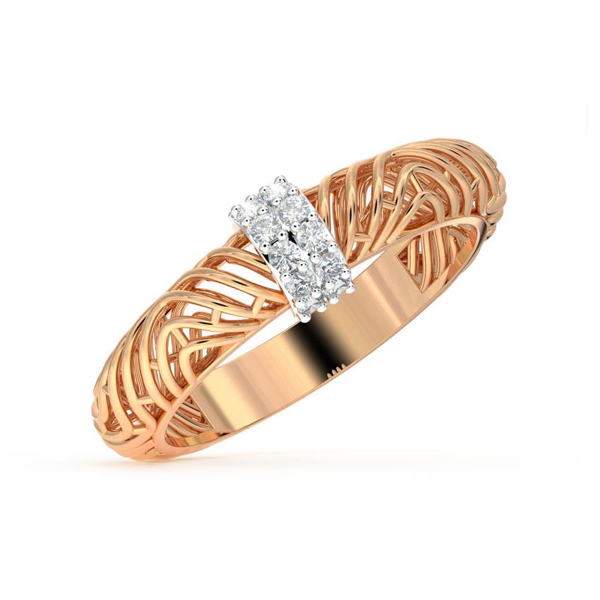 Diamond Rings 18 Karat Rose Gold Basilla Mesh Diamond Ring