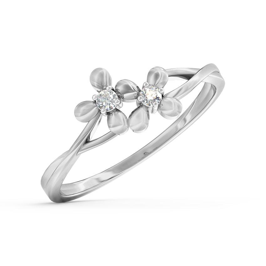 Diamond Rings 14 Karat White Gold Duo Bloom Diamond Ring