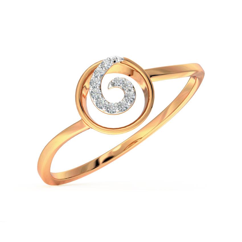 Diamond Rings 14 Karat Rose Gold Whirl Diamond Ring