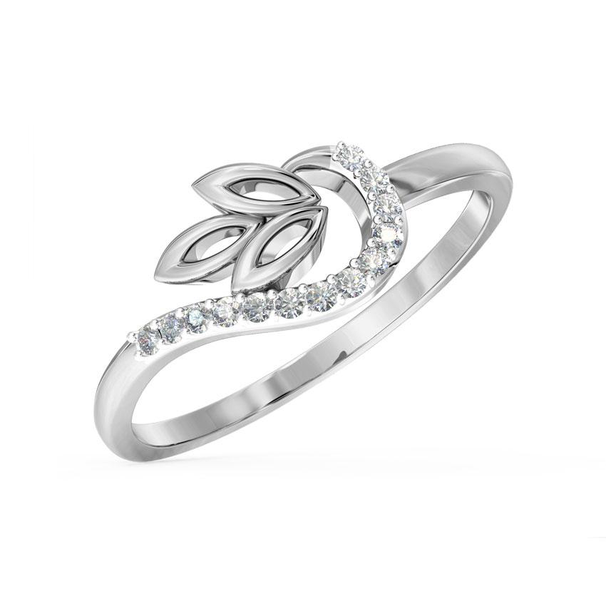 Diamond Rings 14 Karat White Gold Swerve Petal Diamond Ring