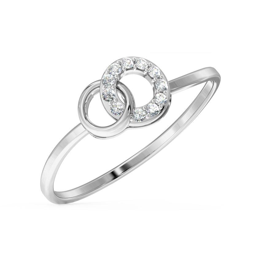 Diamond Rings 14 Karat White Gold Interloop Diamond Ring