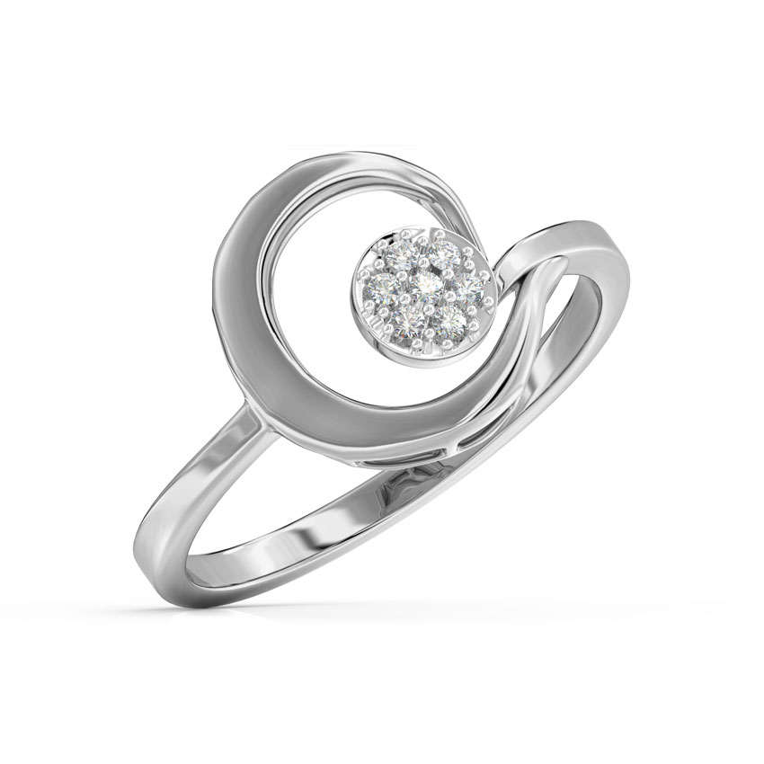 Diamond Rings 14 Karat White Gold Scroll Cluster Diamond Ring