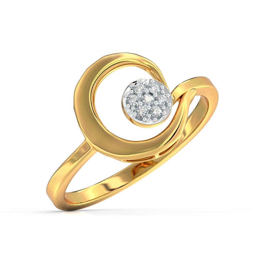 Diamond Rings 14 Karat Yellow Gold Scroll Cluster Diamond Ring