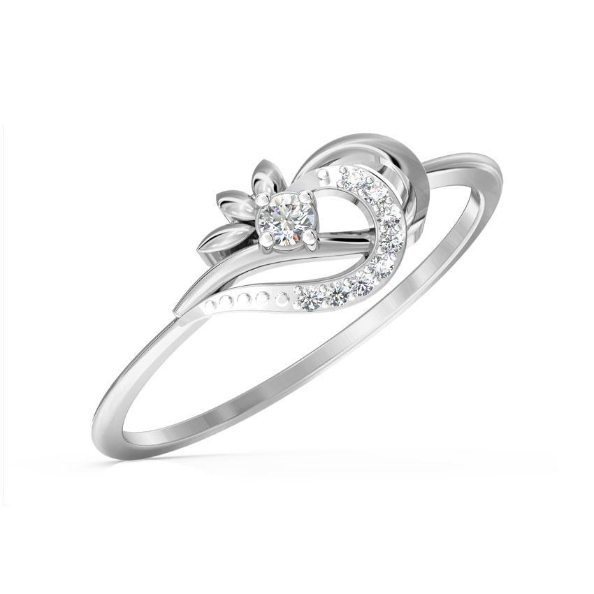 Diamond Rings 14 Karat White Gold Petals Swerve Diamond Ring