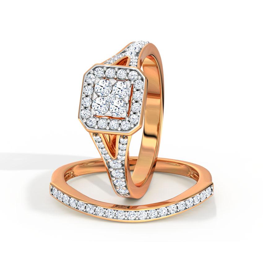 Diamond Rings 18 Karat Rose Gold Glowing Diamond Bridal Ring Set