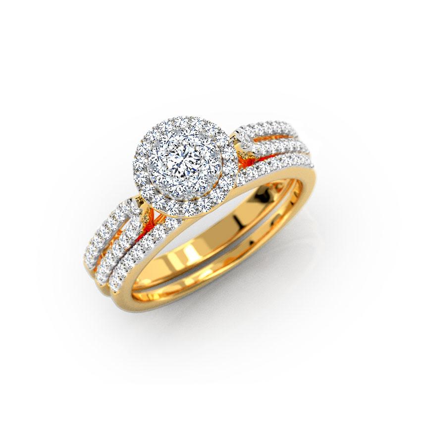 Diamond Rings 18 Karat Yellow Gold Radiating Diamond Bridal Ring Set
