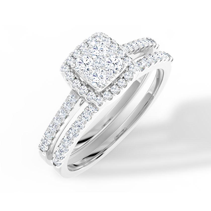 Diamond Rings 18 Karat White Gold Flickering Diamond Bridal Ring Set
