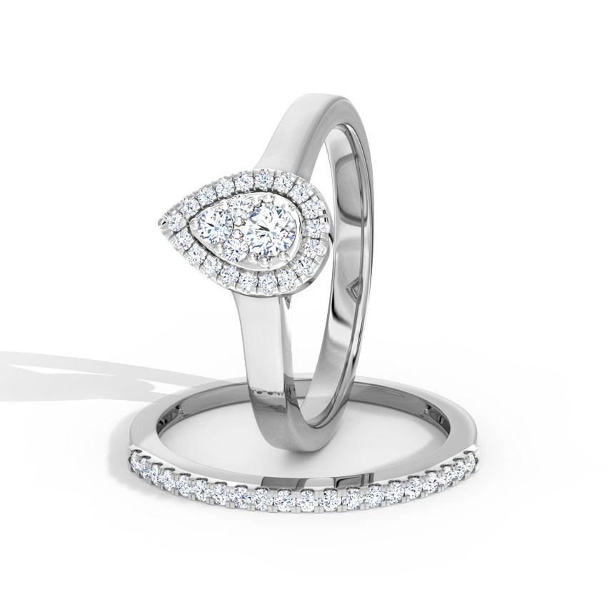 Diamond Rings 18 Karat White Gold Shining Diamond Bridal Ring Set