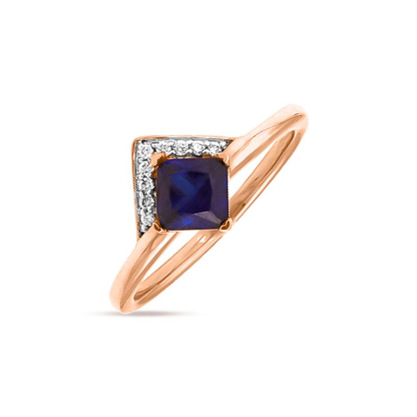 Diamond,Gemstone Rings 14 Karat Rose Gold Georgeous Azure Diamond Ring