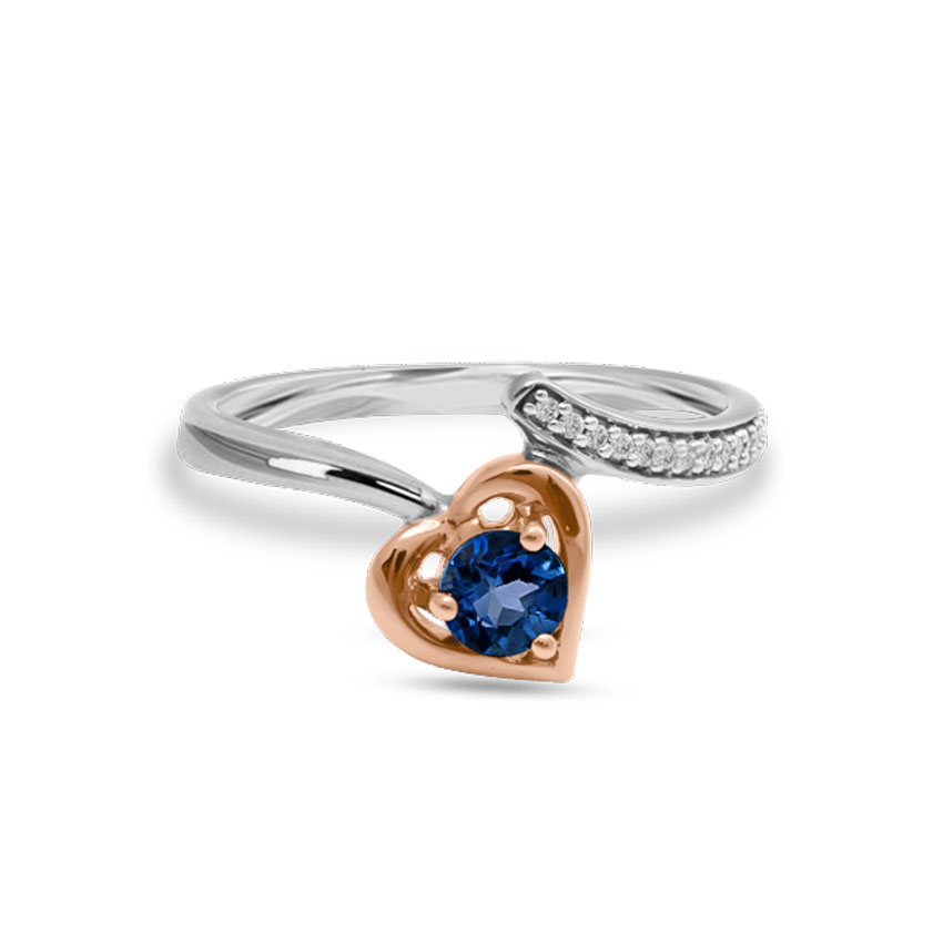 Diamond,Gemstone Rings 14 Karat Two Tone Gold Cute Heart Open Diamond Ring