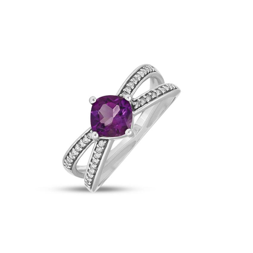 Diamond,Gemstone Rings 14 Karat Rose Gold Glittering Amethyst Diamond Ring