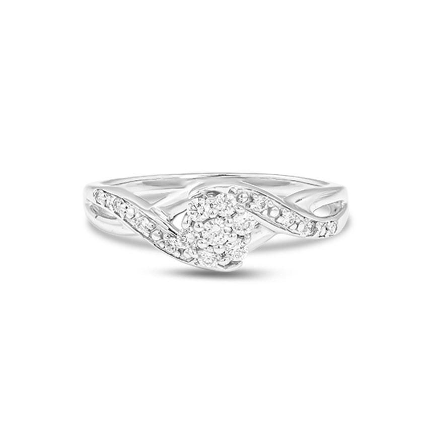 Diamond Rings 18 Karat White Gold Shining Entwined Diamond Ring