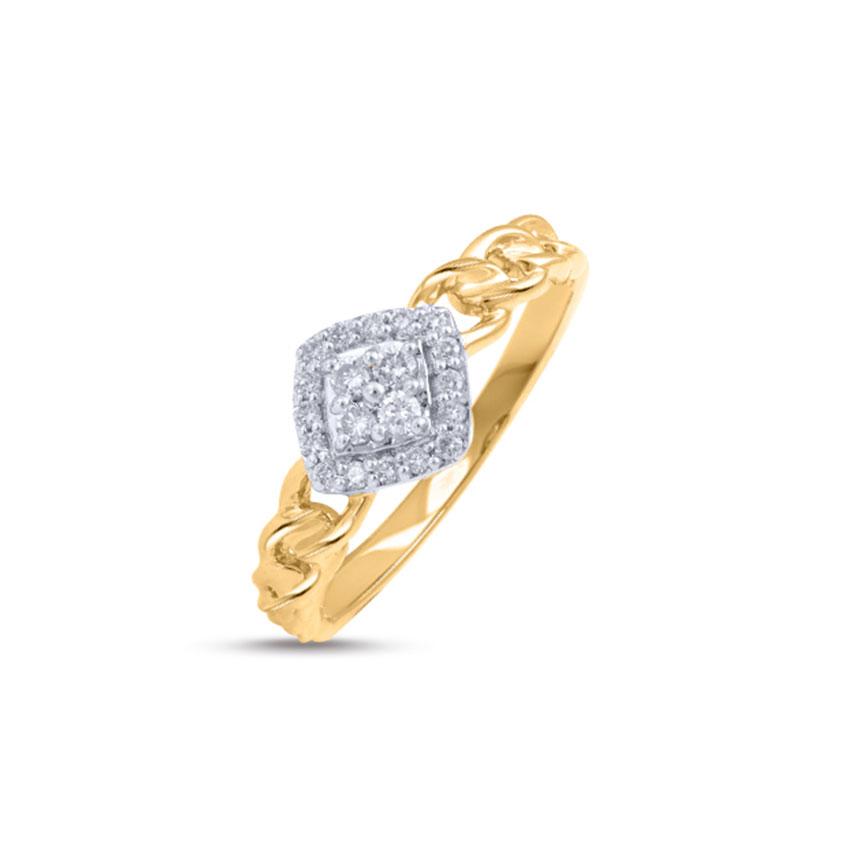 Diamond Rings 14 Karat Rose Gold Linked Diamond Studded Ring