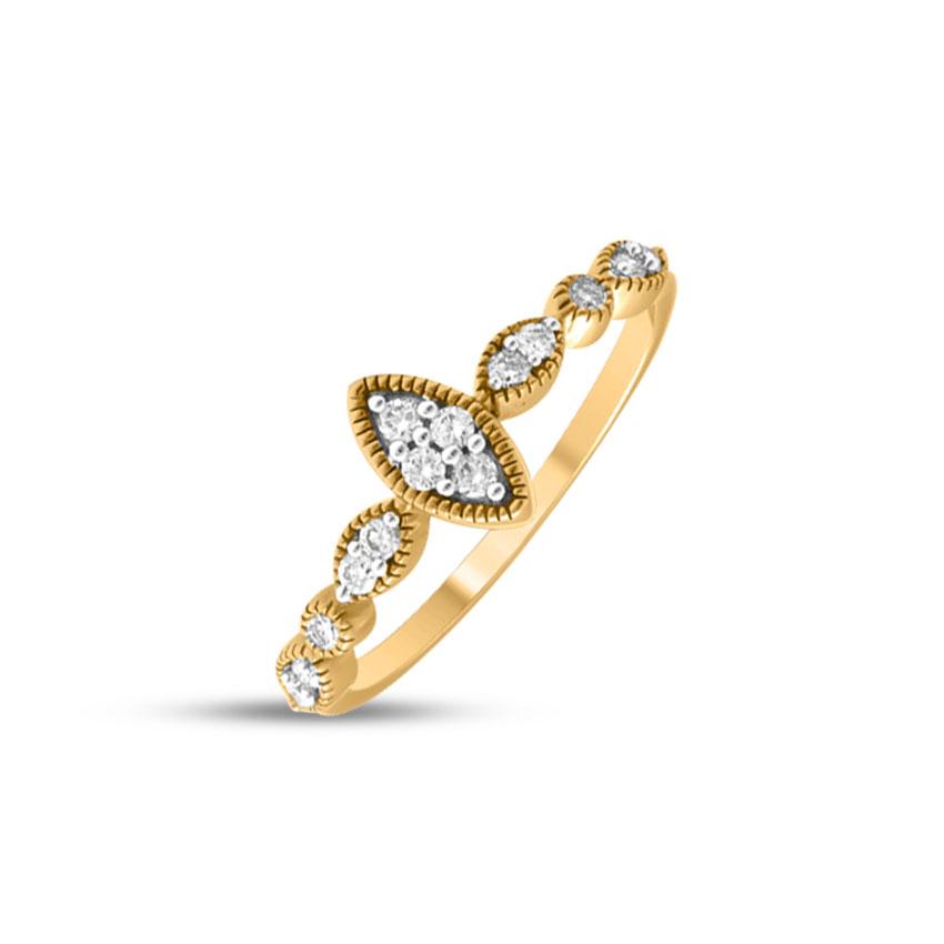 Diamond Rings 14 Karat Yellow Gold Petite Marquise Diamond Ring