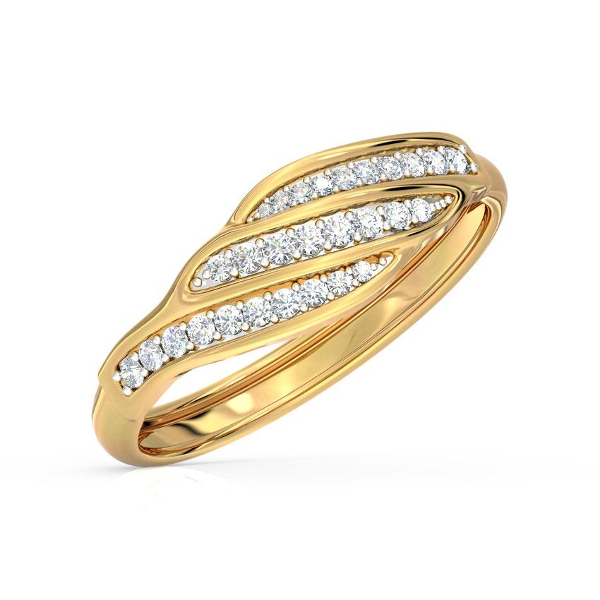 Diamond Rings 14 Karat Yellow Gold Sea Waves Diamond Ring