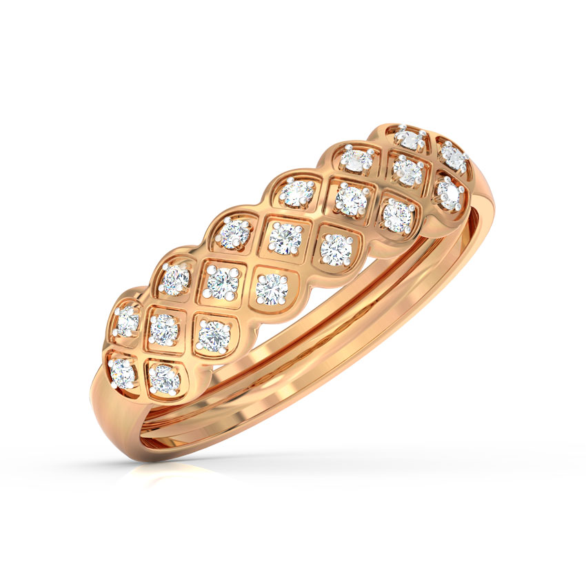 Diamond Rings 18 Karat Rose Gold Checkered Braid Diamond Ring