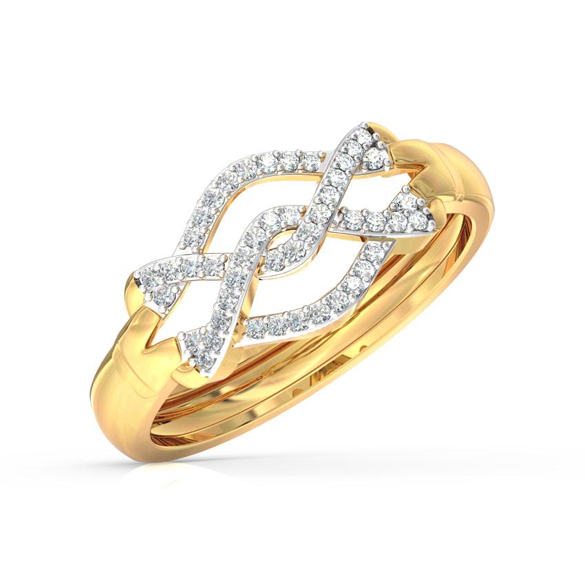 Diamond Rings 14 Karat Yellow Gold Dancing Twine Diamond Ring