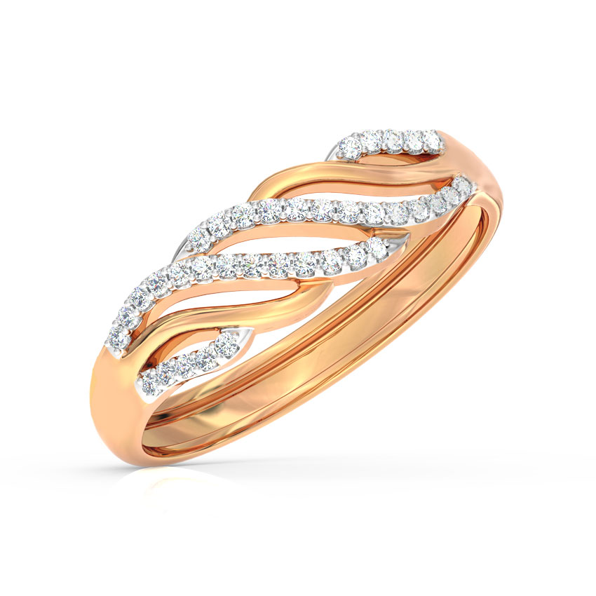 Diamond Rings 14 Karat Rose Gold Happy Waves Diamond Ring