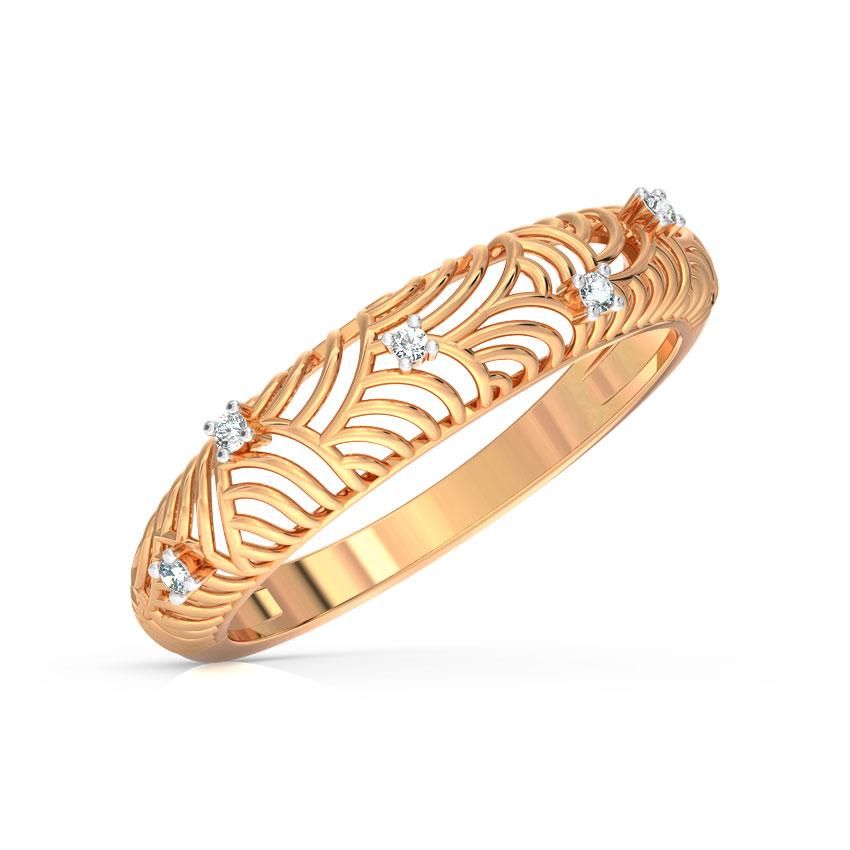 Diamond Rings 14 Karat Rose Gold Array Lattice Diamond Ring