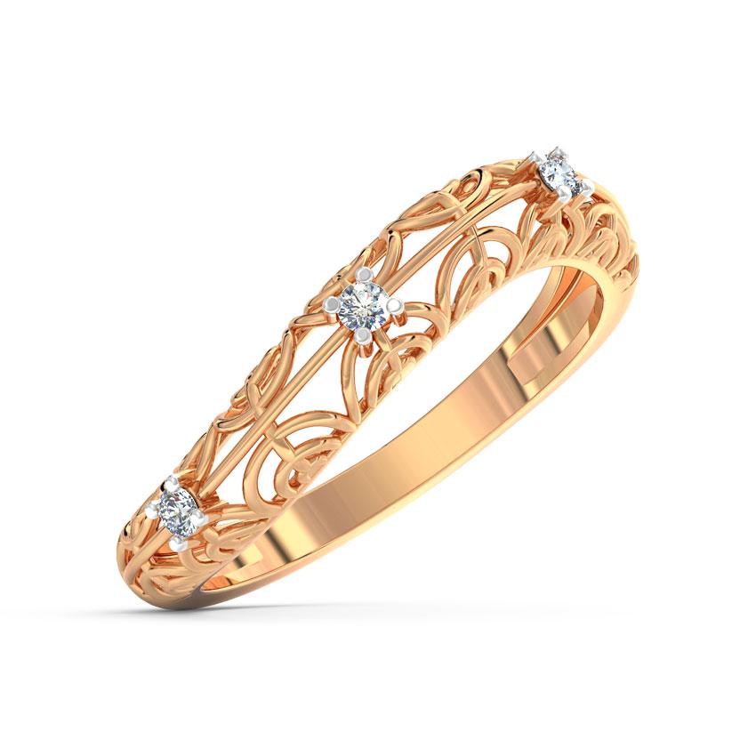 Diamond Rings 18 Karat Rose Gold Swerve Lattice Diamond Ring