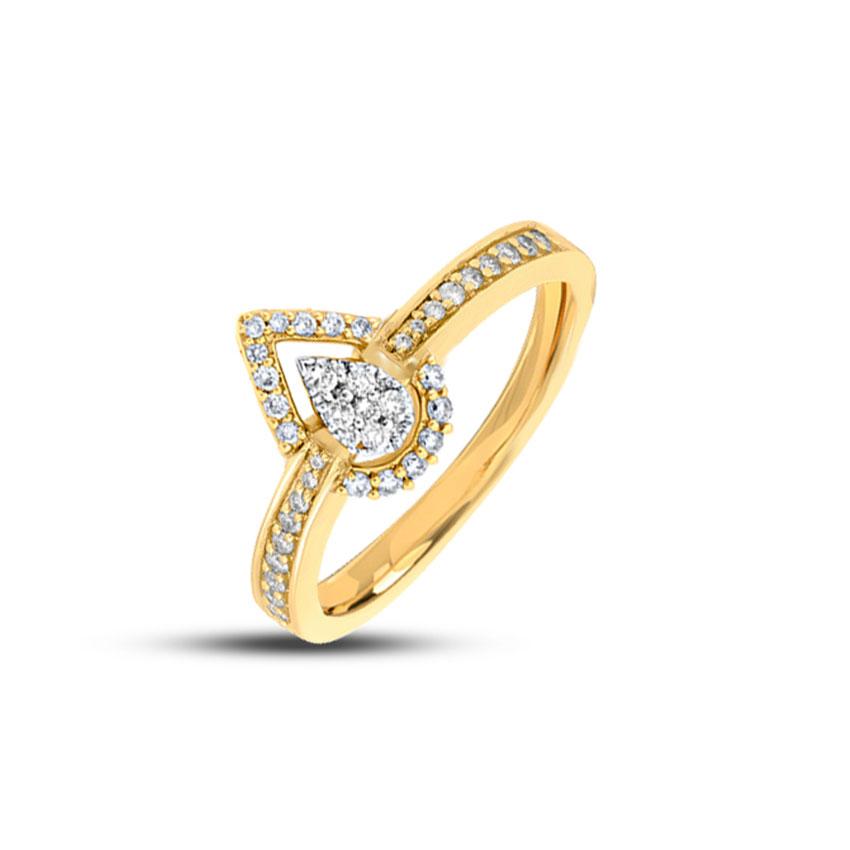 Diamond Rings 18 Karat Yellow Gold Classic Studded Drop Diamond Ring