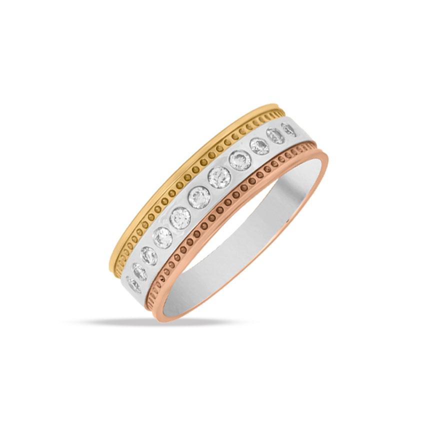 Diamond Rings 18 Karat Three Tone Gold Yuvan Diamond Ring for Men