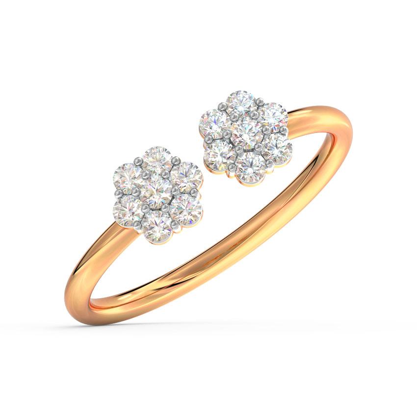 Diamond Rings 18 Karat Rose Gold Duo Periwinkle Diamond Ring