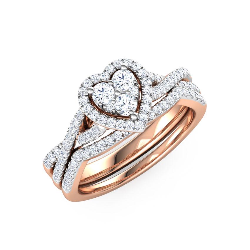 Diamond Rings 18 Karat Rose Gold Cluster Heart Diamond Bridal Ring Set