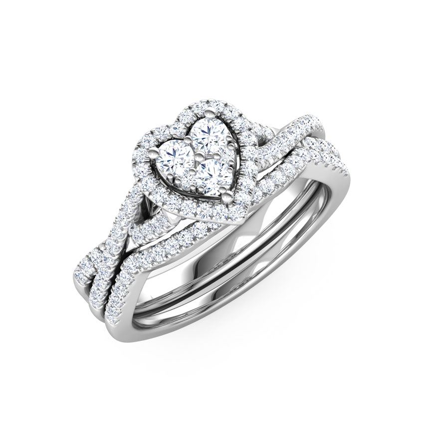 Cluster Heart Bridal Ring Set