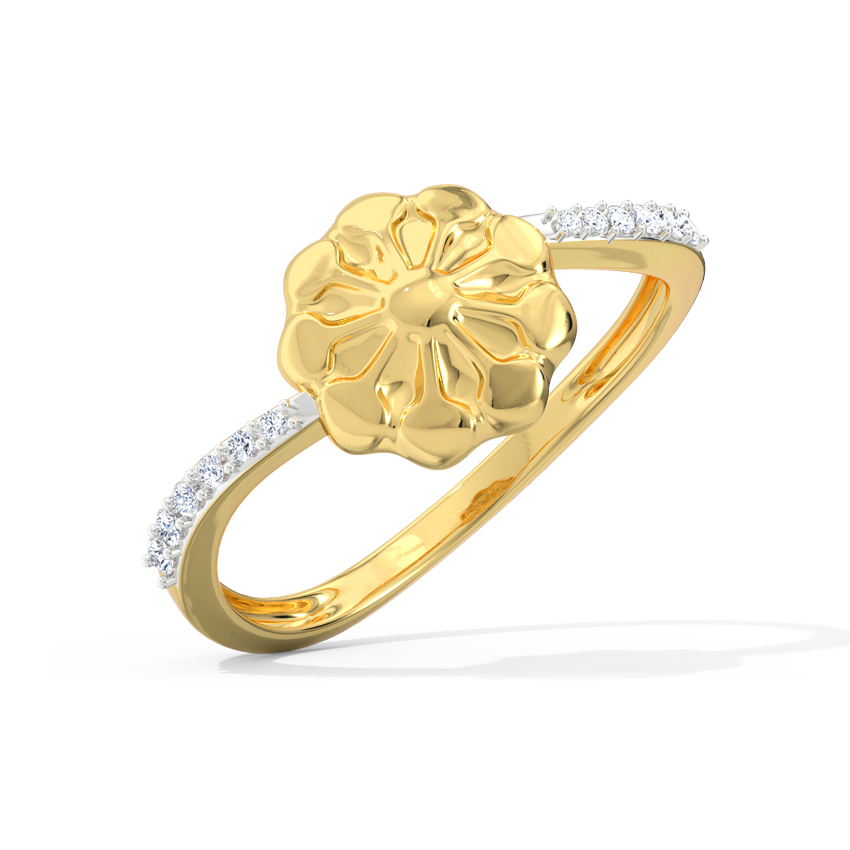 Diamond Rings 18 Karat Yellow Gold Disha Floret Diamond Ring