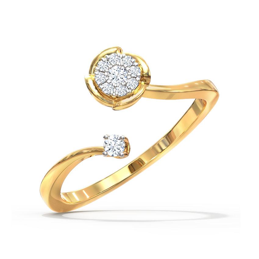 Diamond Rings 18 Karat Yellow Gold Dew and Drop Open Diamond Ring