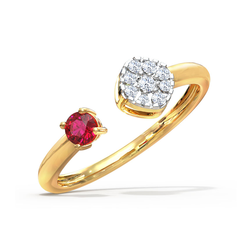 Diamond,Gemstone Rings 18 Karat Yellow Gold Cluster and Drop Open Diamond Ring