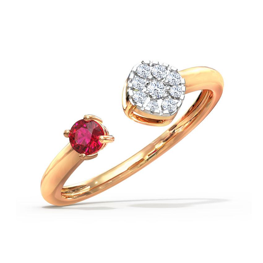 Diamond,Gemstone Rings 14 Karat Rose Gold Cluster and Drop Open Diamond Ring