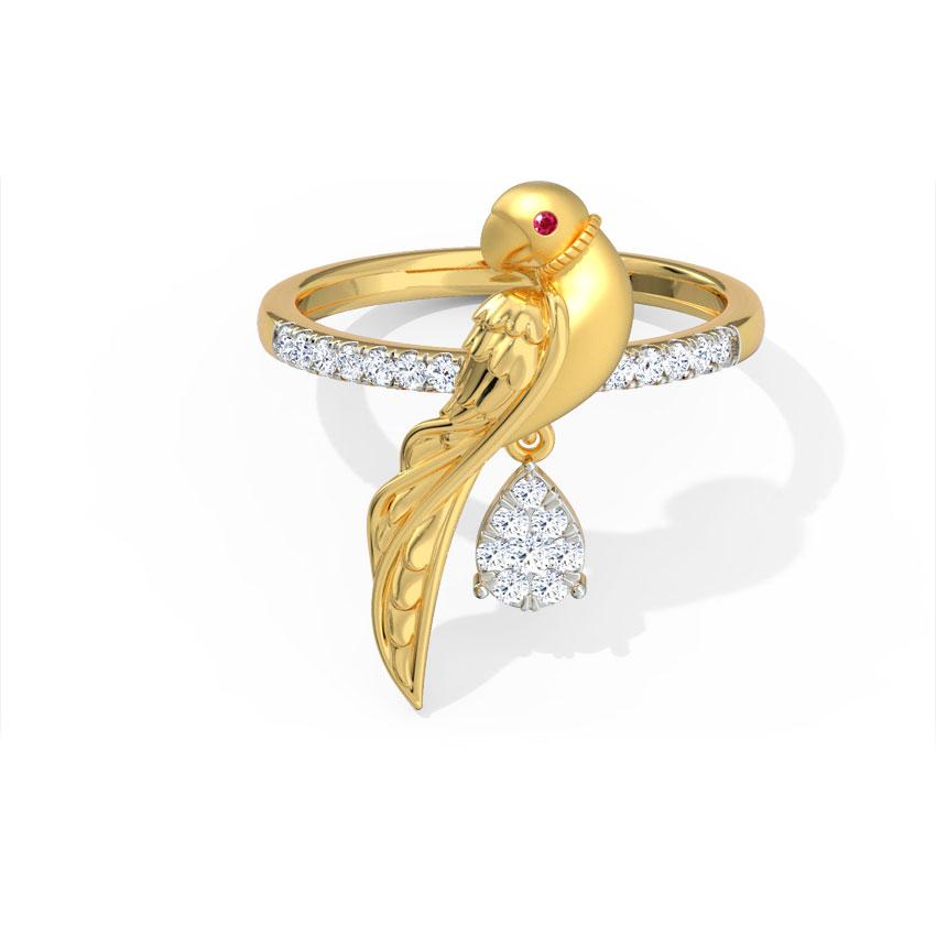 Diamond,Gemstone Rings 18 Karat Yellow Gold Charming Parrot Ring