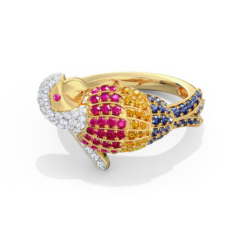 Vibrant Parrot Ring