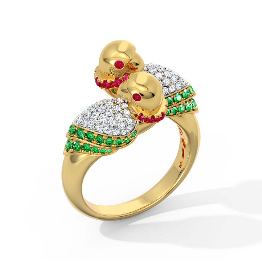 Diamond,Gemstone Rings 18 Karat Yellow Gold Beautiful Parrot Diamond Ring